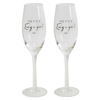 Newly Engaged Glass Champagne Flutes - Product number 8596018