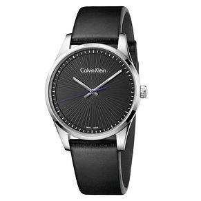 Calvin Klein Men's Black Leather Strap Watch - Product number 8599610