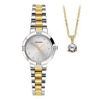 Sekonda Ladies' Two Tone Bracelet Watch & Pendant Gift Set - Product number 8599637