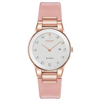 Citizen Eco-Drive Ladies' Pink Leather Strap Watch - Product number 8600163