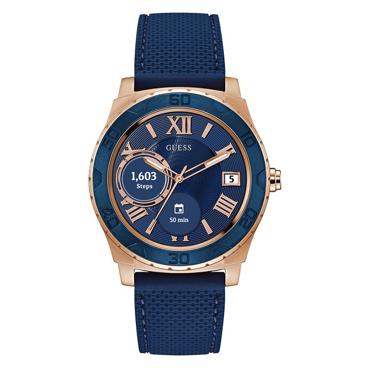 Guess Connect Touch Blue Silicone Strap Smartwatch - Product number 8600376