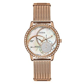 Guess IQ Ladies' Rose Gold Mesh Bracelet Smartwatch - Product number 8600414