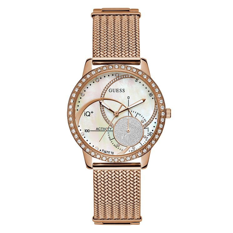 Guess Active IQ Ladies' Rose Gold Mesh Bracelet Smartwatch - Product number 8600414