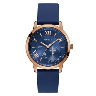Guess IQ Ladies' Blue Silicone Strap Smartwatch - Product number 8600422
