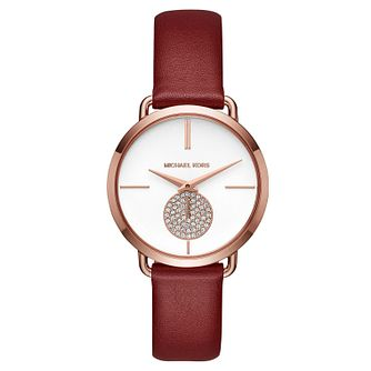 Michael Kors Portia Ladies' Rose Gold Tone Red Strap Watch - Product number 8600457
