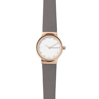 Skagen Freja Ladies' Rose Gold Tone Stone Set Strap Watch - Product number 8600813