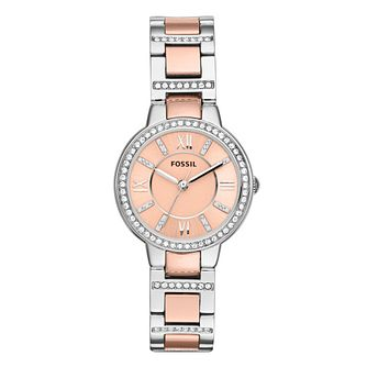 Fossil Virginia Ladies' Two Colour Pink Bracelet Watch - Product number 8601577