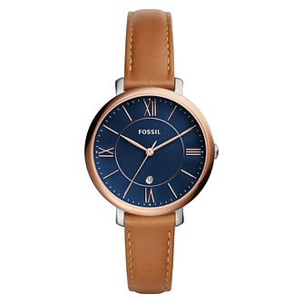 Fossil Jacqueline Ladies' Two Colour Tan Strap Watch - Product number 8601607
