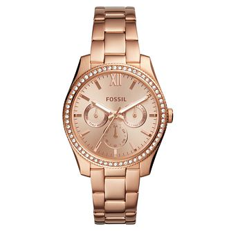 Fossil Scarlette Ladies' Rose Gold Tone Stone Set Watch - Product number 8601666