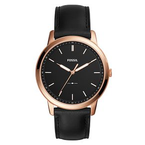 Fossil Minimalist Men's Rose Gold Tone Black Strap Watch - Product number 8601712
