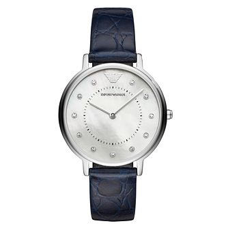 Emporio Armani Ladies' Mother of Pearl Blue Strap Watch - Product number 8601879