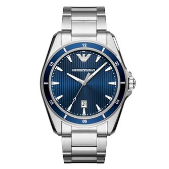 Emporio Armani Men's Stainless Steel Blue Dial Watch - Product number 8602069