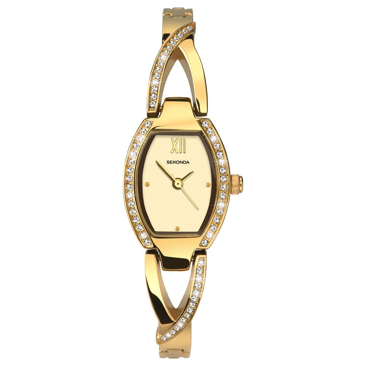 Sekonda Ladies' Gold Plated Semi-Bangle Bracelet Watch - Product number 8602166