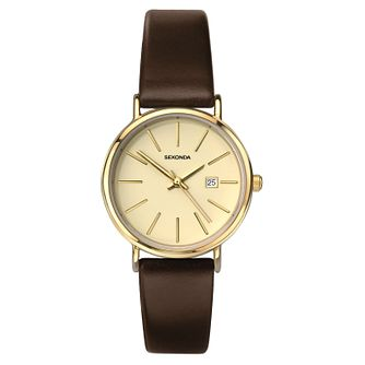 Sekonda Ladies' Dark Brown Leather Strap Watch - Product number 8602212