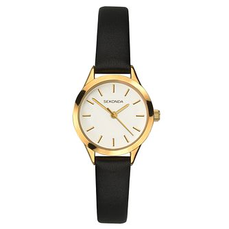 Sekonda Ladies' Black Leather Strap Watch - Product number 8602271