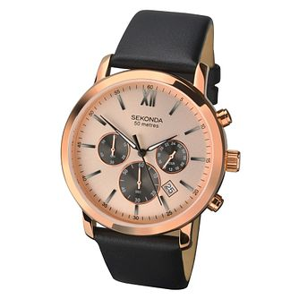 Sekonda Men's Black Leather Strap Chronograph Watch - Product number 8602344