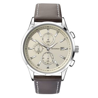 Sekonda Men's Dual Time Brown Leather Strap Watch - Product number 8602468