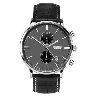 Sekonda Men's Black Leather Strap Watch - Product number 8602573