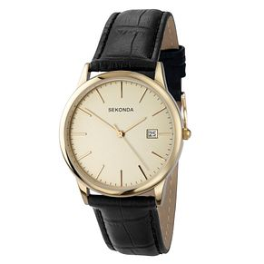 Sekonda Men's Black Leather Strap Watch - Product number 8602646