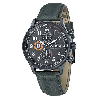 AVI-8 Men's Hawker Hurricane Green Leather Strap Watch - Product number 8602824