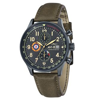 AVI-8 Men's Hawker Hurricane Green Leather Strap Watch - Product number 8602832