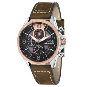 AVI-8 Men's Hawker Harrier II Brown Leather Strap Watch - Product number 8602840