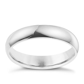 18ct white gold D shape 4mm wedding ring - Product number 8604231