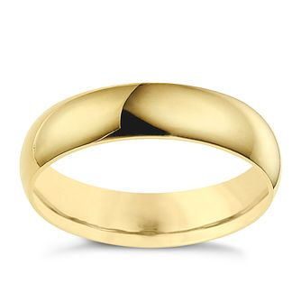 18ct yellow gold 5mm D shape wedding ring - Product number 8606803