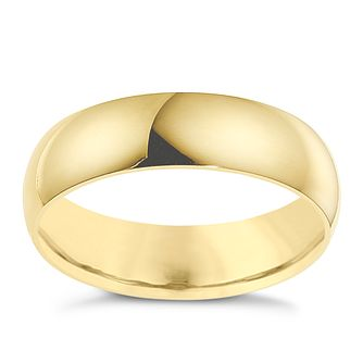 18ct yellow gold 6mm D shape wedding ring - Product number 8606811