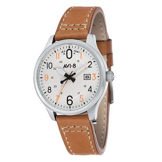 AVI-8 Men's Hawker Hurricane Tan Leather Strap Watch - Product number 8608040