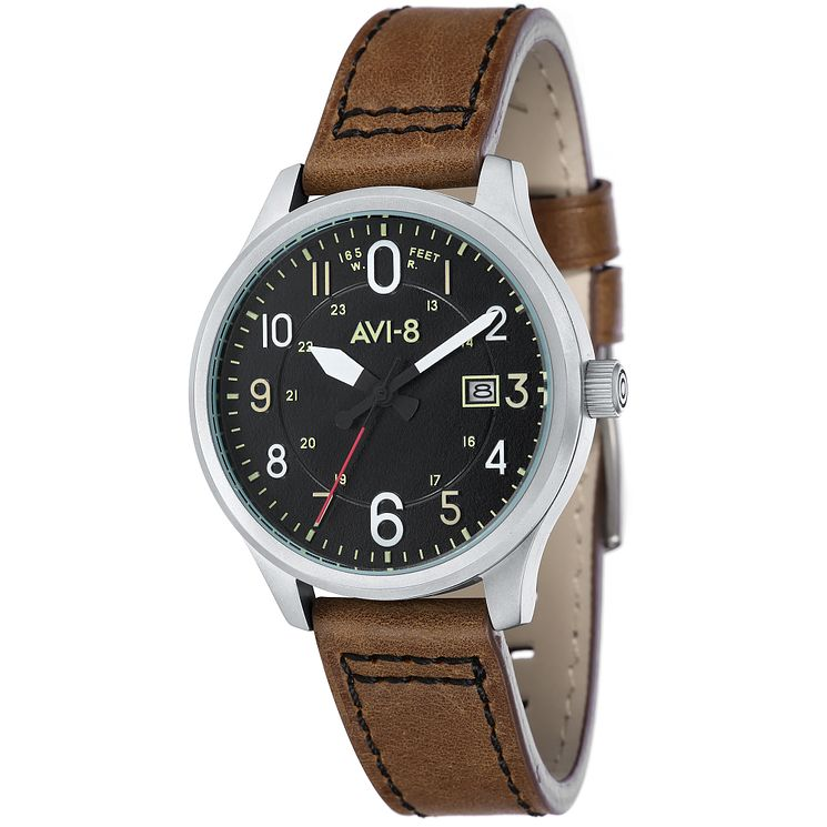 AVI-8 Men's Hawker Hurricane Brown Leather Strap Watch - Product number 8608083