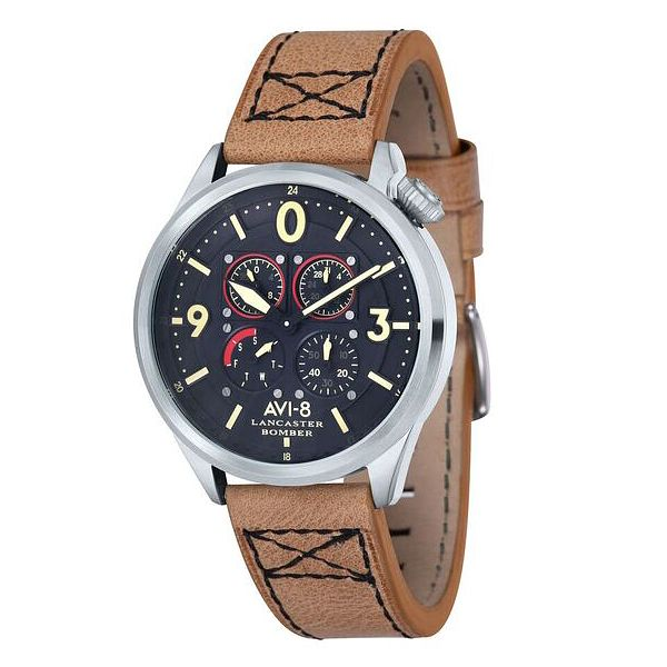 AVI-8 Men's Lancaster Bomber Brown Leather Strap Watch - Product number 8608091
