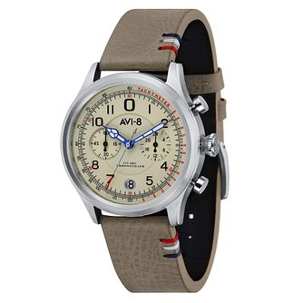 AVI-8 Men's Flyboy Grey Leather Strap Watch - Product number 8608156