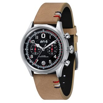AVI-8 Men's Flyboy Black Leather Strap Watch - Product number 8608164