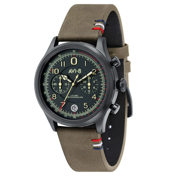 AVI-8 Men's Flyboy Green Leather Strap Watch - Product number 8608172