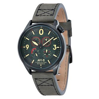 AVI-8 Men's Lancaster Bomber Green Leather Strap Watch - Product number 8608180