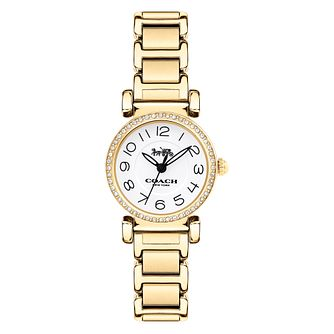 Coach Madison Ladies' Yellow Gold Tone Stone Set Watch - Product number 8609691