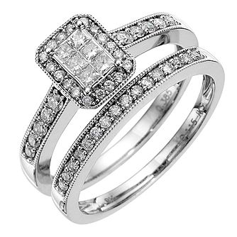 9ct white gold 0.50ct diamond bridal set - Product number 8653577