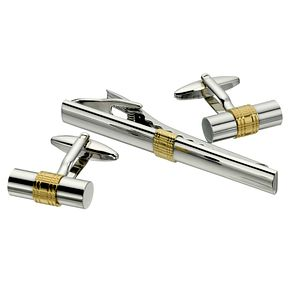 Two Tone Silver & Gold Barrel Tie Clip & Cufflink Set - Product number 8657238