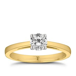 Tolkowsky 18ct yellow gold 1/2ct HI-VS2 diamond ring - Product number 8658684