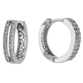 Silver & Diamond Hoop Earrings - Product number 8663343