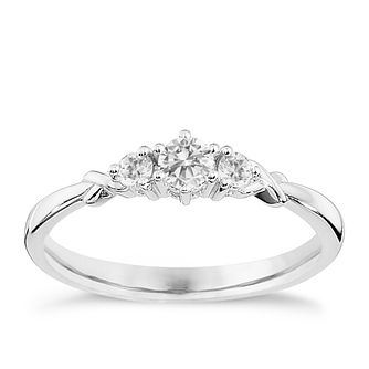 9ct White Gold Quarter Carat Diamond Trilogy Ring - Product number 8664757