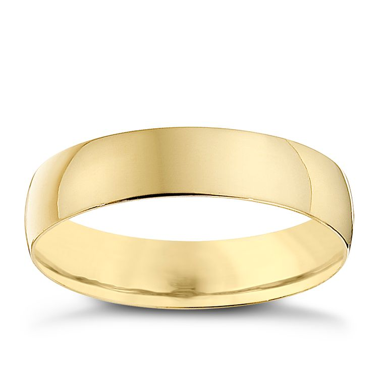 9ct Yellow Gold 4mm Heavy D Shape Ring - Product number 8680914
