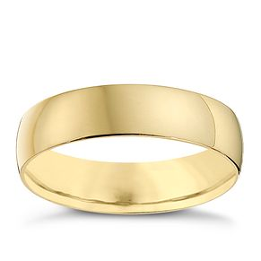 9ct Yellow Gold 5mm Heavy D Shape Ring - Product number 8681155