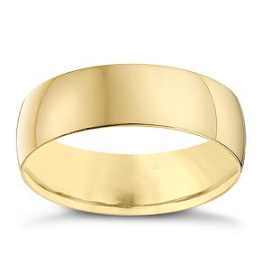 9ct Yellow Gold 6mm Heavy D Shape Ring - Product number 8681503
