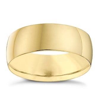 9ct Yellow Gold 7mm Heavy D Shape Ring - Product number 8681805