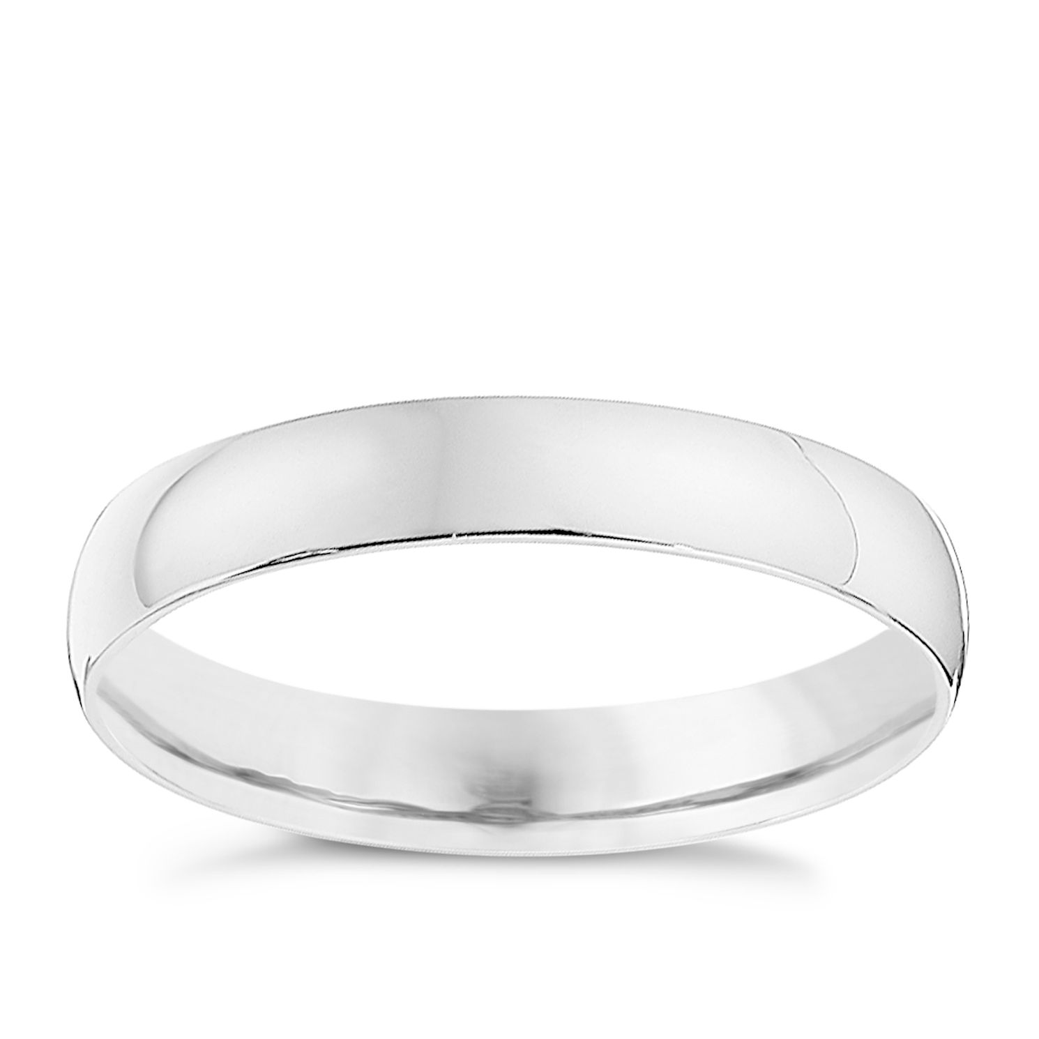 9ct White Gold 3mm Heavy D Shape Ring   Product Number 8682879