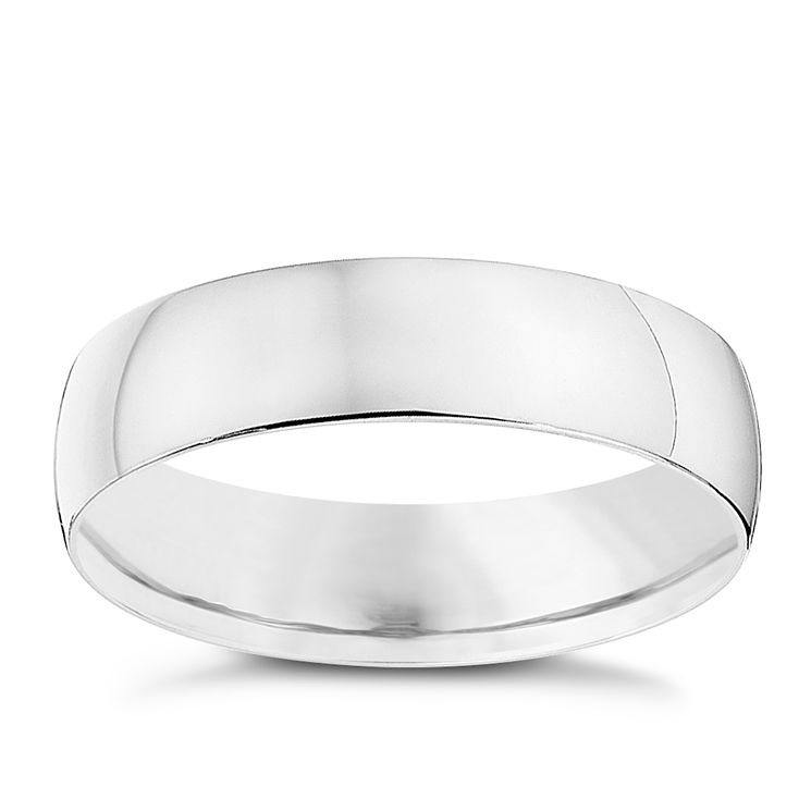 9ct White Gold 6mm Heavy D Shape Ring - Product number 8683670