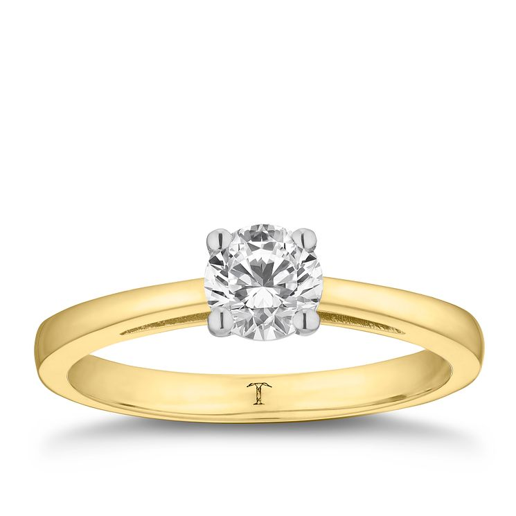Tolkowsky 18ct yellow gold 0.66ct HI-SI2 diamond ring - Product number 8698813