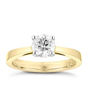 Tolkowsky 18ct yellow gold 1ct HI-SI2 diamond ring - Product number 8699097